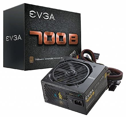 Fonte 700W EVGA - PFC Ativo - Eficiência 85% - 80 PLUS Bronze - 100-B1-0700-K0