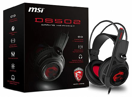 Headset Gamer MSI DS502 - com Controle de Volume - 7.1 Canais - Vibração e LED - USB