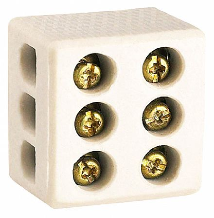 Conector Tripolar de Porcelana Lorenzetti - Fios de até 10mm - 50A/250V - com 3 Bornes - 1422-FP