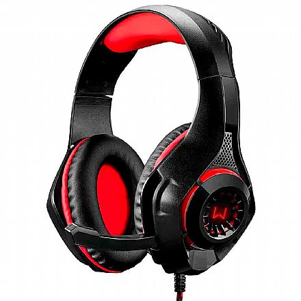 Headset Gamer Multilaser Warrior PH219 - com LED Vermelho - Controle de Volume