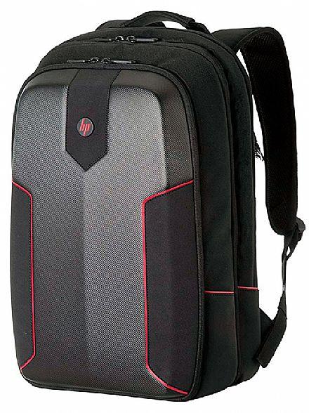 """Mochila Gamer HP 3EJ61LA - Para Notebooks de até 15.6"""" - Preto e Vermelho"""