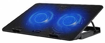 """Base para Notebook C3 Tech - até 15.6"""" - com LED - 5 Níveis de Altura - 2 Portas USB - NBC-50BK"""