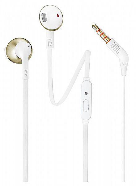 Fone de Ouvido Auricular JBL T205 - com Microfone - Conector 3.5mm - Branco e Dourado - JBLT205CGD