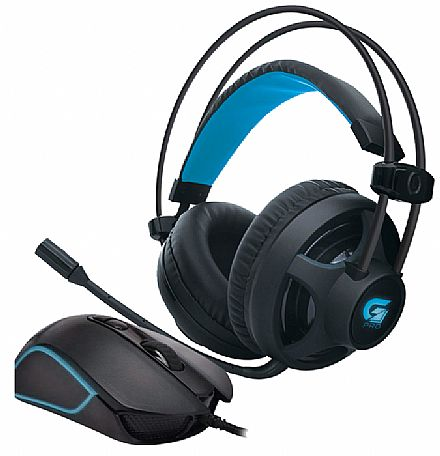 Kit Headset e Mouse Gamer Fortrek - HeadsetG Pro H2 + Mouse Pro M7 - Controle de volume e Cancelamento de Ruídos - 4800dpi - 8 Botões - Mouse com LED RGB