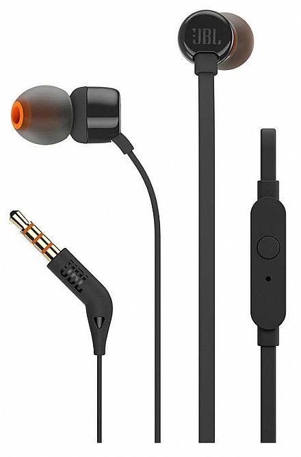 Fone de Ouvido Intra-Auricular JBL T110 - com Microfone - Conector 3.5mm - Preto - JBLT110BLK