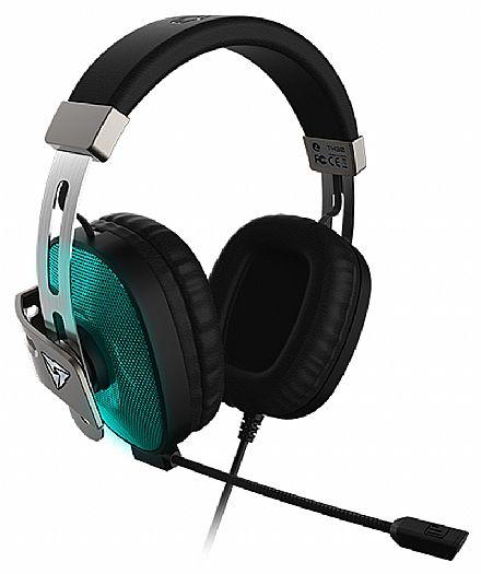 Headset Gamer ThunderX3 TH30 Glow - com Controle de Volume e Cancelamento de Ruídos - Som Surround Virtual 7.1 - LED Azul - Conector 3.5mm e USB