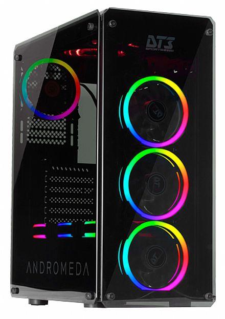 Gabinete DT3 Sports Andromeda - PSU Cover - Lateral e Frontal de Vidro Temperado - com Controlador e Coolers RGB
