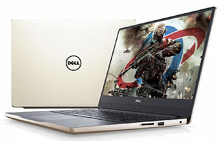 "Notebook Dell Inspiron i14-7472-R10G - Tela 14"" Infinita Full HD, Intel i5 8250U, 16GB, SSD 480GB, GeForce MX150 4GB, Windows 10 - Gold - Garantia 1 ano - Seminovo"