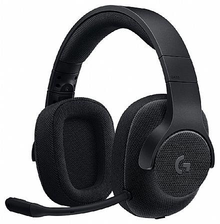 Headset Gamer Logitech G433 - 7.1 Surround Drivers Pro-G™ - Microfone destacável - Conector 3.5mm - Preto - 981-000667