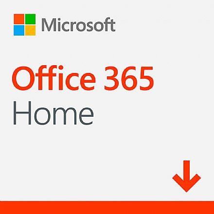 Office 365 Home 2019 - Licença Anual para 6 usuários + 1 TB de Armazenamento One Drive por usuário - 1 PC ou Mac + 1 Tablet ou Smartphone - Versão Download - 6GQ-00088