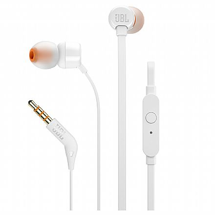 Fone de Ouvido Intra-Auricular JBL T110 - com Microfone - Conector 3.5mm - Branco - JBLT110WHT