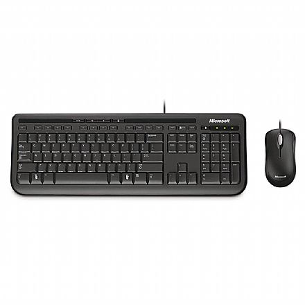 Kit Teclado e Mouse Microsoft Wired Desktop 600 for Business - USB - 3J2-00006