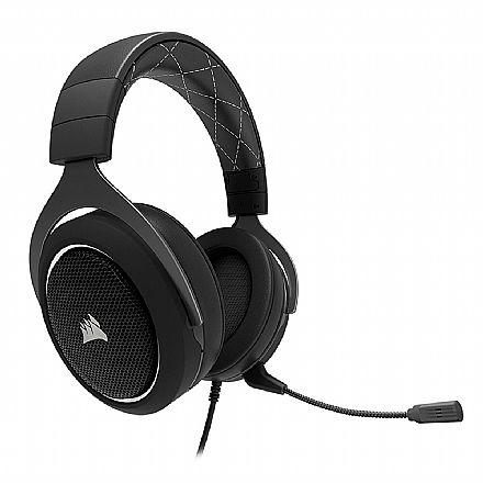 Headset Corsair Gaming HS60 Surround - Áudio 7.1 Surround - Conector 3.5mm - Compatível com PC / PS4 / Xbox One / Switch - Branco - CA-9011174-NA