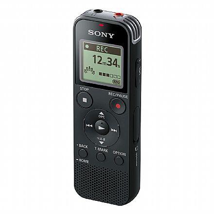 Gravador de Voz Digital Sony ICD-PX470 - Stereo - 4GB - Entrada para Micro SD - com Tranferência direta de arquivos por USB