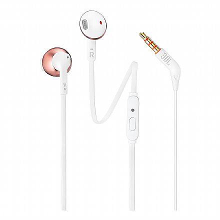 Fone de Ouvido Auricular JBL T205 - com Microfone - Conector 3.5mm - Branco e Rosé - JBLT205RGD
