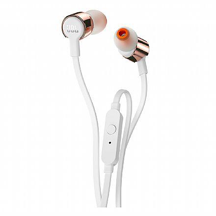 Fone de Ouvido Intra-Auricular JBL T210 - com Microfone - Conector 3.5mm - Branco e Rosé Gold - JBLT210RGD