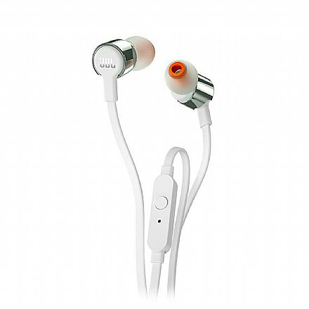 Fone de Ouvido Intra-Auricular JBL T210 - com Microfone - Conector 3.5mm - Branco e Prata - JBLT210GRY