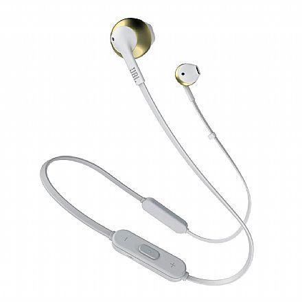 Fone de Ouvido Bluetooth Auricular JBL T205 BT - com Microfone - Champagne - JBLT205BTCGD