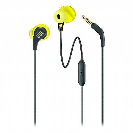 Fone de Ouvido Esportivo Intra-Auricular JBL Endurance Run - com Microfone - Resistente a Suor - Ponteiras Magnéticas - Conector 3.5mm - Preto e Amarelo - JBLENDURRUNBNL