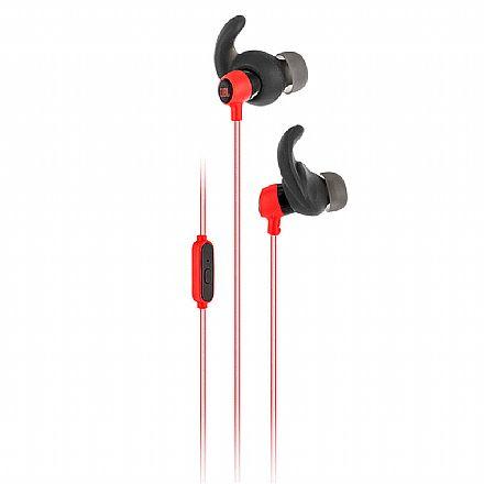 Fone de Ouvido Esportivo Intra-Auricular JBL Reflect Mini - com Microfone - Resistente a Suor - Conector 3.5mm - Preto e Vermelho - JBLREFMINIRED