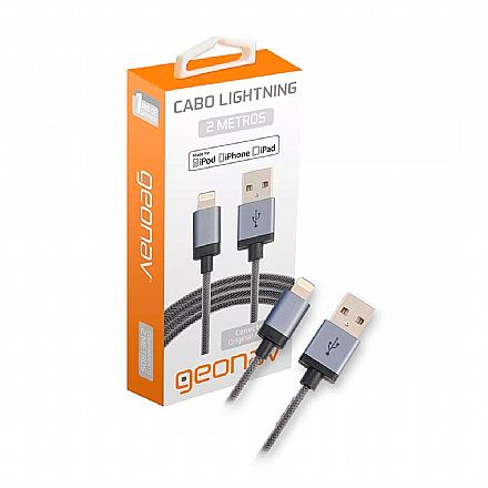 Cabo Lightning para USB - Para iPhone, iPad e iPod - 2 Metros - Revestido de Nylon Trançado - Geonav LIGH08