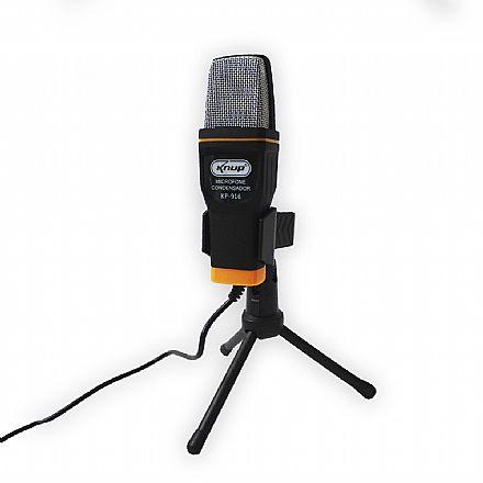 Microfone Condensador USB Knup KP-916 - Cabo 1,35m - Ideal para Mesa de Gravação e vídeos Youtube