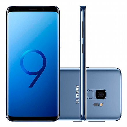 "Smartphone Samsung Galaxy S9 - Tela 5.8"" Edge sAMOLED, Octa Core, 128GB, Dual Chip 4G, Câmera 12MP com Super Slow Motion, Leitor de Digital - Azul SM-G9600/DS"