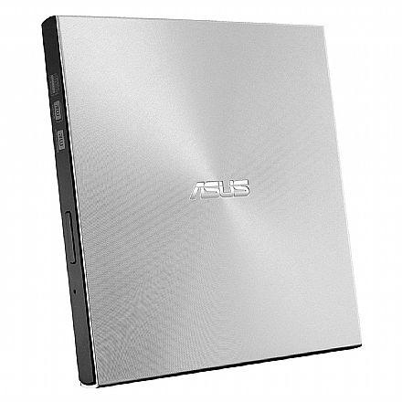 Gravador DVD Externo Asus Ultra Slim ZenDrive U9M - Portátil - Conexão por USB e USB Tipo C - Prata - SDRW-08U9M-U/SIL
