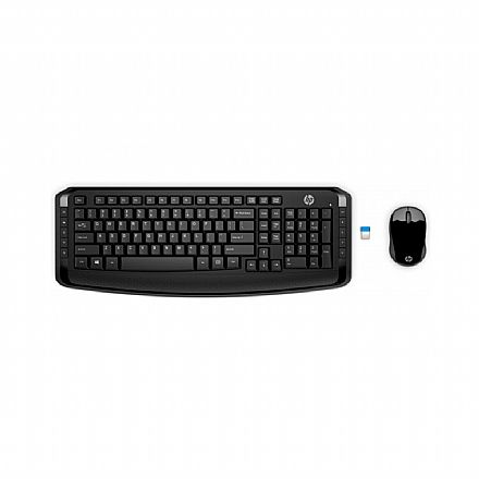 Kit Teclado e Mouse sem Fio HP 300 - ABNT2 - com Teclas Multimídia - 1600dpi - 2.4GHz - Preto