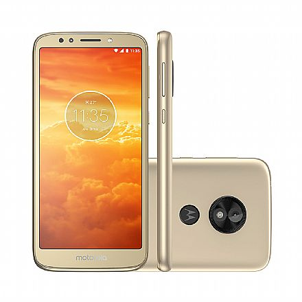 "Smartphone Motorola Moto E5 Play - Tela 5.6"" Max Vision, 16GB, Dual Chip 4G, Câmera 8MP e Flash Frontal, Leitor de Digital - Ouro - XT1920-19"