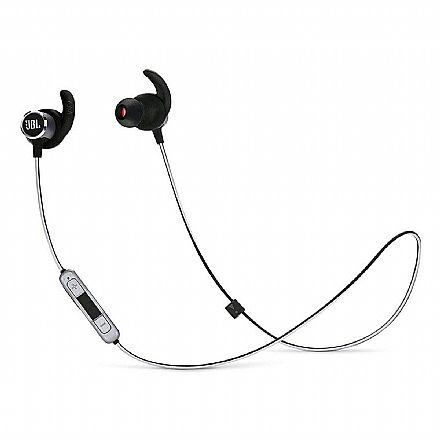 Fone de Ouvido Esportivo Bluetooth Intra-Auricular JBL Reflect Mini 2 - com Microfone - Resistente a Suor - Preto - JBLREFMINIB2BLK