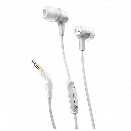 Fone de Ouvido Intra-Auricular JBL E15 - com Microfone - Resistente a Suor - Conector 3.5mm - Branco - JBLE15WHT