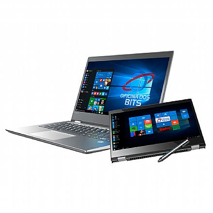 "Notebook Lenovo Yoga 520 2 em 1 - Tela 14"" HD Touchscreen, Intel i7 7500U, 16GB, SSD 480GB, Leitor Biométrico, Caneta ActivePen, Windows 10 - 80YM0005BR"