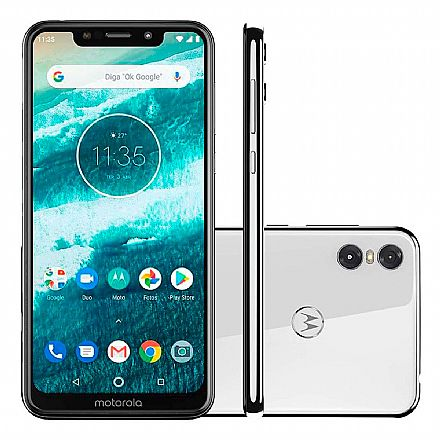 "Smartphone Motorola Moto One - Tela 5.9"" HD+, 64GB, Dual Chip 4G, Câmera Dupla 13MP + 2MP, Filma em Ultra HD 4K, Leitor de Digital - Branco - XT1941-3"