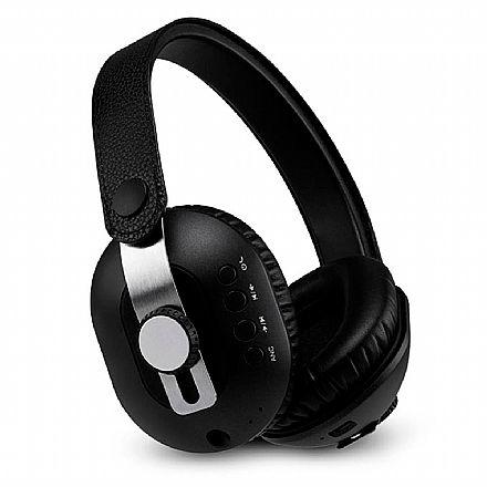 Fone de Ouvido Bluetooth Multilaser Pulse - com Microfone - Cabo P2 3.5mm Removível - com Cancelamento de Ruídos Ativo (ANC) - Acabamento em Couro - Preto - PH274