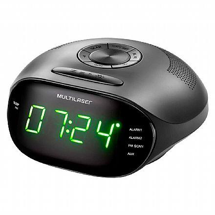 Rádio Relógio Multilaser - 5W RMS - Rádio FM - com função Despertador - Entrada P2 3.5mm - Bivolt - Preto - SP202