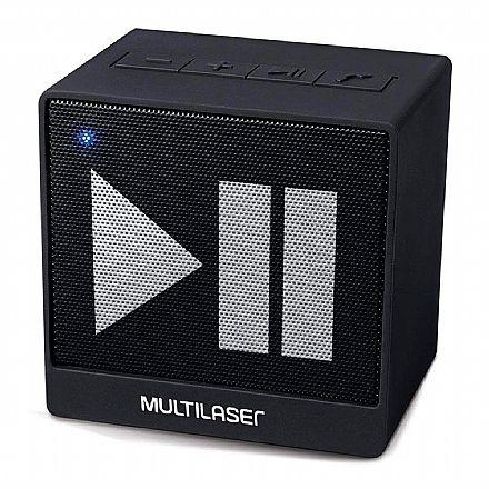 Caixa de Som Portátil Multilaser SP277 - Bluetooth - 8W RMS - com função atender chamada - Entrada P2 3.5mm - Preto