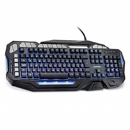 Teclado Gamer Multilaser Warrior Kilian - 5 Teclas Macro Programáveis - com Suporte para Smartphone - Iluminação LED 3 Cores - ABNT - TC226