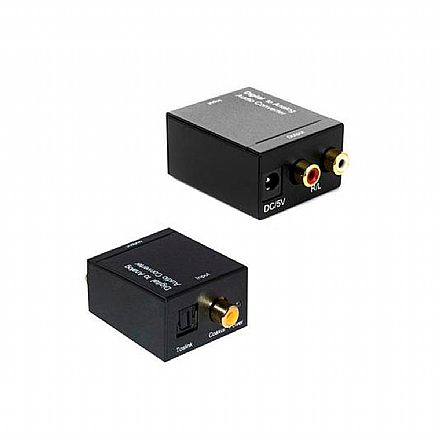 Conversor de Áudio Digital para Analógico - Toslink (óptico) ou Coaxial para 2 RCA - AD0250