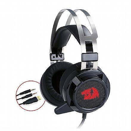 Headset Redragon Siren - com Microfone e LED - Driver de Vibração - Conector P2 3.5mm e Alimentação USB - H301