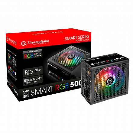 Fonte 500W Thermaltake Smart RGB - PFC Ativo - Eficiência 80% - 80 PLUS® White - PS-SPR-0500NHFAWB-1