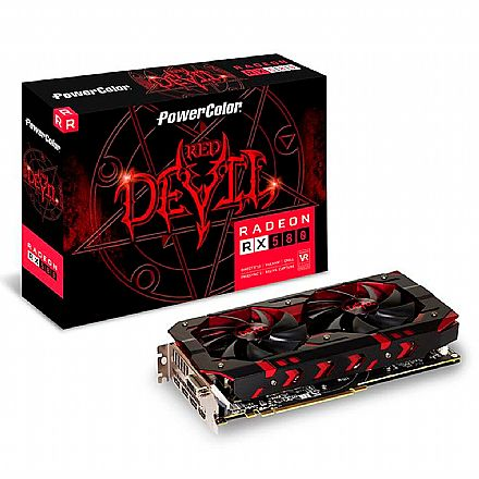 AMD Radeon RX 580 8GB GDDR5 256bits - Red Devil - Power Color AXRX 580 8GBD5-3DH/OC