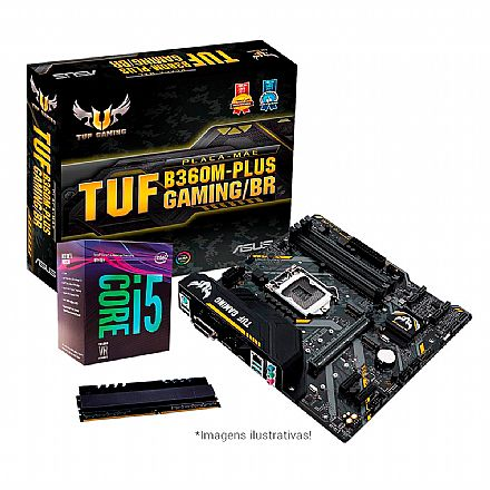 Kit Intel® Core™ i5 8400 + Asus TUF B360M-PLUS GAMING/BR + Memória 8GB DDR4