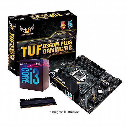 Kit Intel® Core™ i3 8100 + Asus TUF B360M-PLUS GAMING/BR + Memória 8GB DDR4