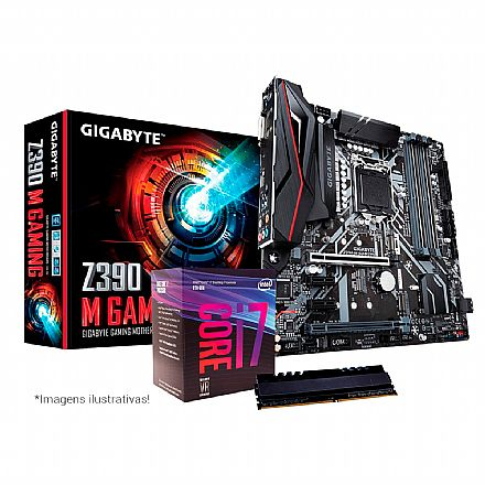 Kit Intel® Core™ i7 8700 + Gigabyte Z390 M GAMING + Memória 8GB DDR4