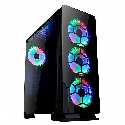 Gabinete Liketec Diamond - com Coolers RGB - Painel frontal e lateral em Vidro Temperado - Janela lateral em Acrílico - USB 3.0