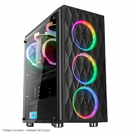 Gabinete Liketec Horus - com Coolers RGB - Lateral esquerda em Vidro Temperado - USB 3.0