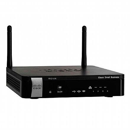 Roteador Wi-Fi Cisco RV215W - 4 Portas 100Mbps - VPN Firewall - USB para 3G/4G - RV215W-A-K9-NA