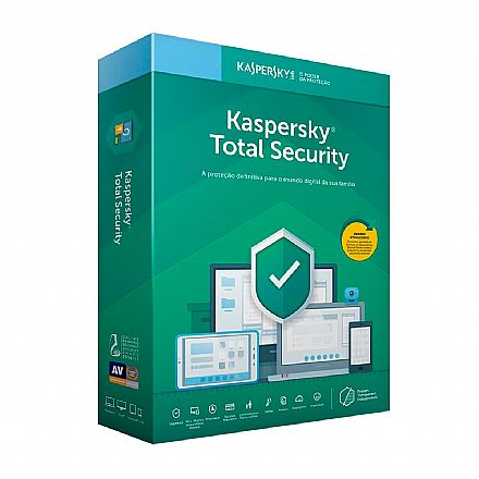 Kaspersky Antivírus Total Security 2019 Multidispositivos - Licença de 1 ano - para 5 PCs