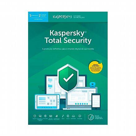 Kaspersky Antivírus Total Security 2019 Multidispositivos - Licença de 1 ano - para 5 PCs - Versão Download